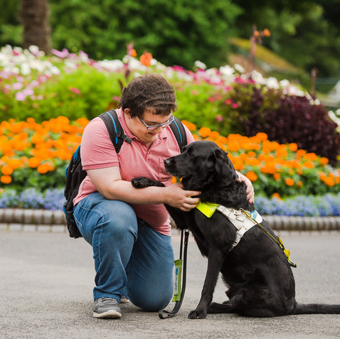 A Person with Guide Dog